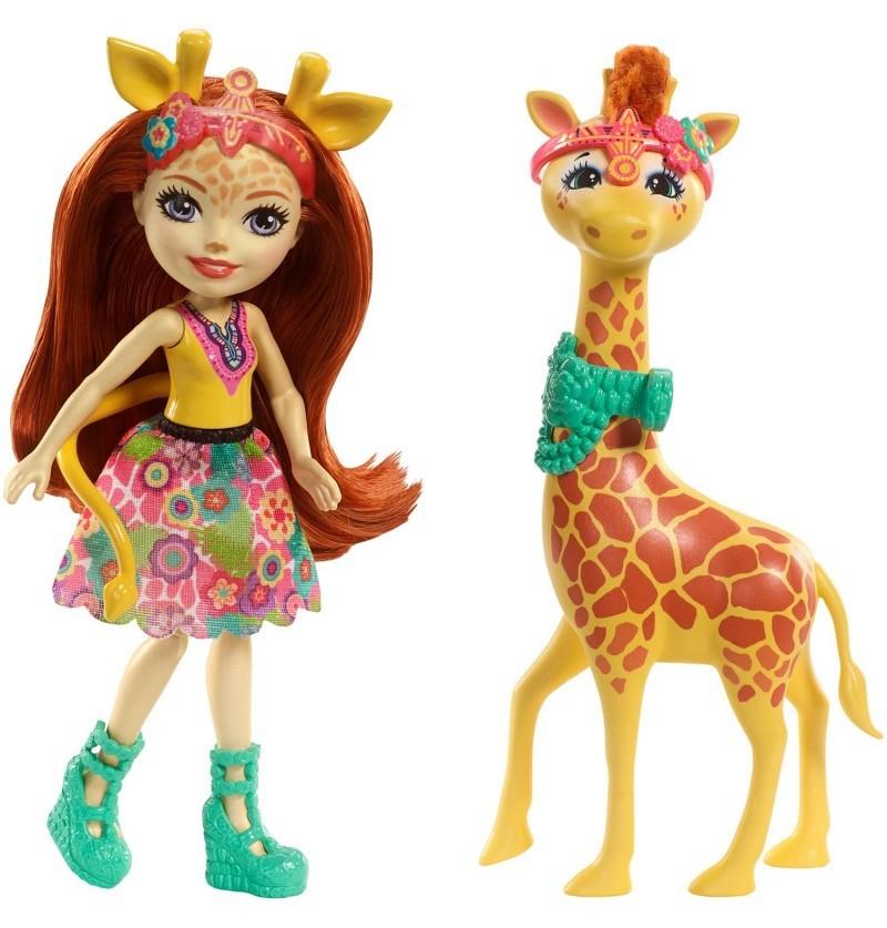 EnchanTimals FKY74 Lalka Gillian Giraffe+Zwierzątko Pawl