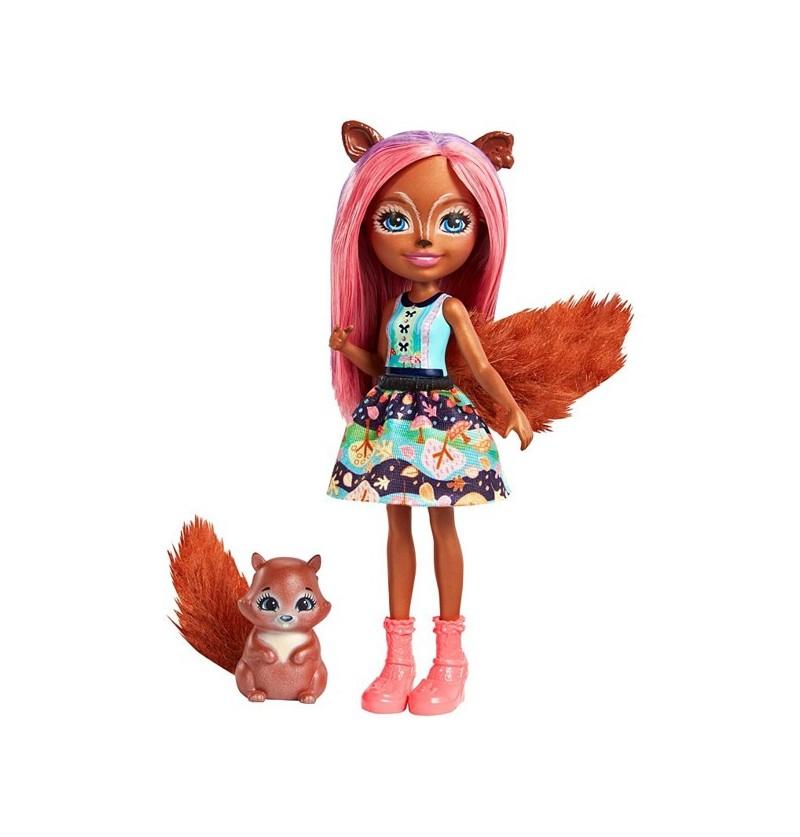Enchantimals FMT61 Lalka Sancha Squirrel+zwierzątko Stumper
