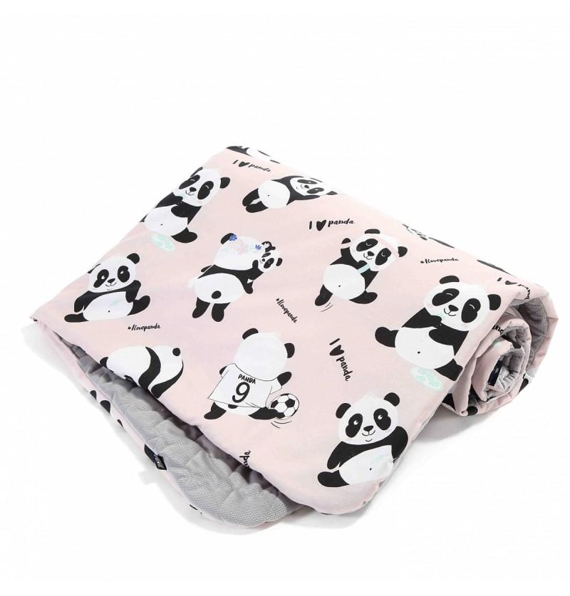 La Millou Velvet Collection Narzutka przedszkolaka Slim IlovePanda Pink Dark Grey
