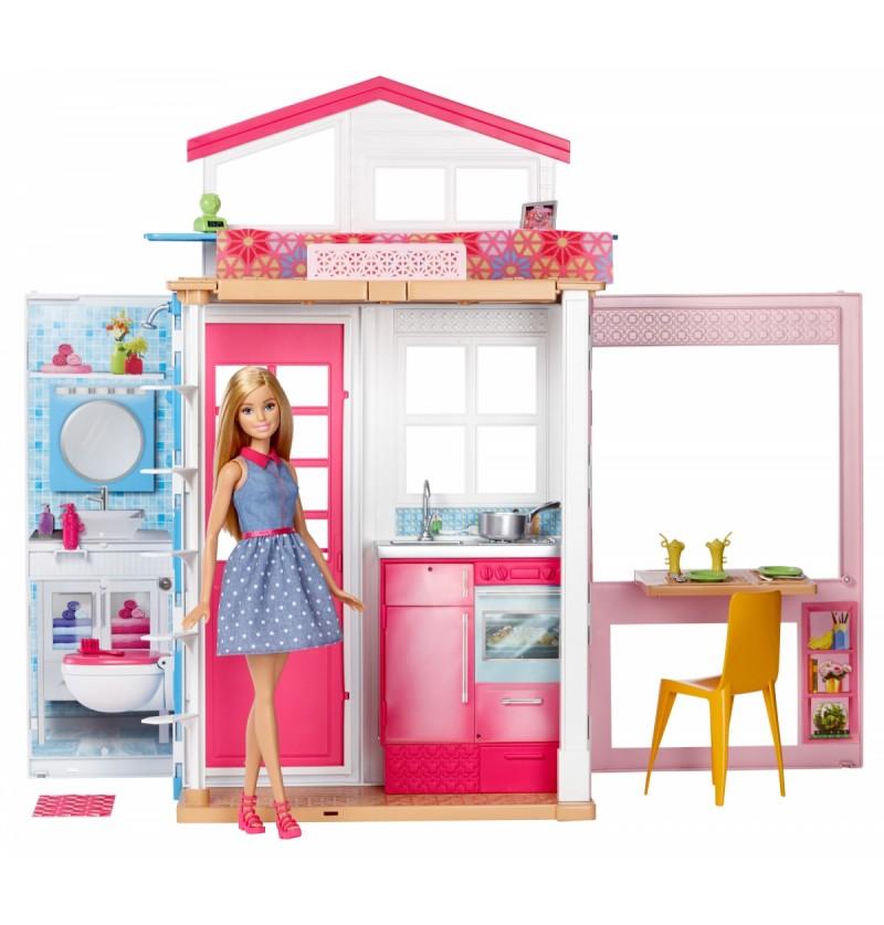 Barbie DVV48 dwupoziomowy domek z lalką