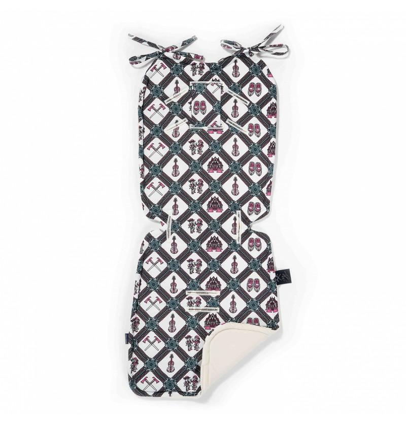 La Millou Velvet Collection Stroller Pad Thick Mosaic Amarant Rafaello by Staszek Karpiel-Bułecka