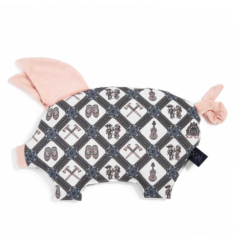 La Millou Poduszka Sleepy Pig New Folk Mosaic Pastel Touch Powder Pink by Staszek Karpiel-Bułecka