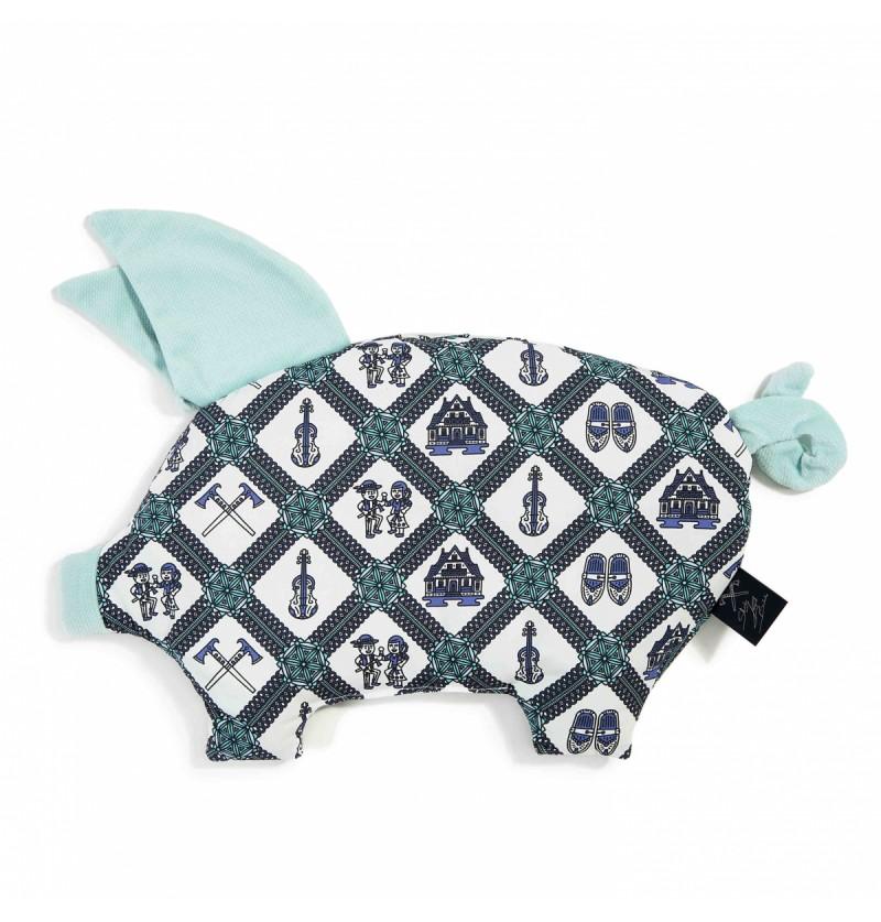 La Millou Poduszka Sleepy Pig Mosaic Emerald Audrey Mint by Staszek Karpiel-Bułecka