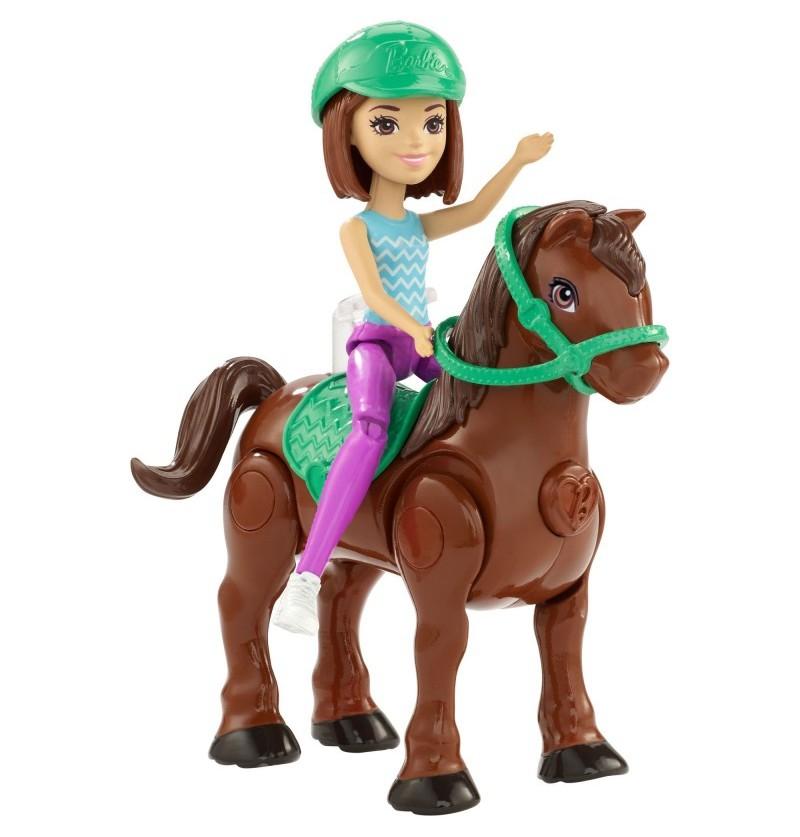 Barbie On The Go Mała Lalka + Kucyk FHV62