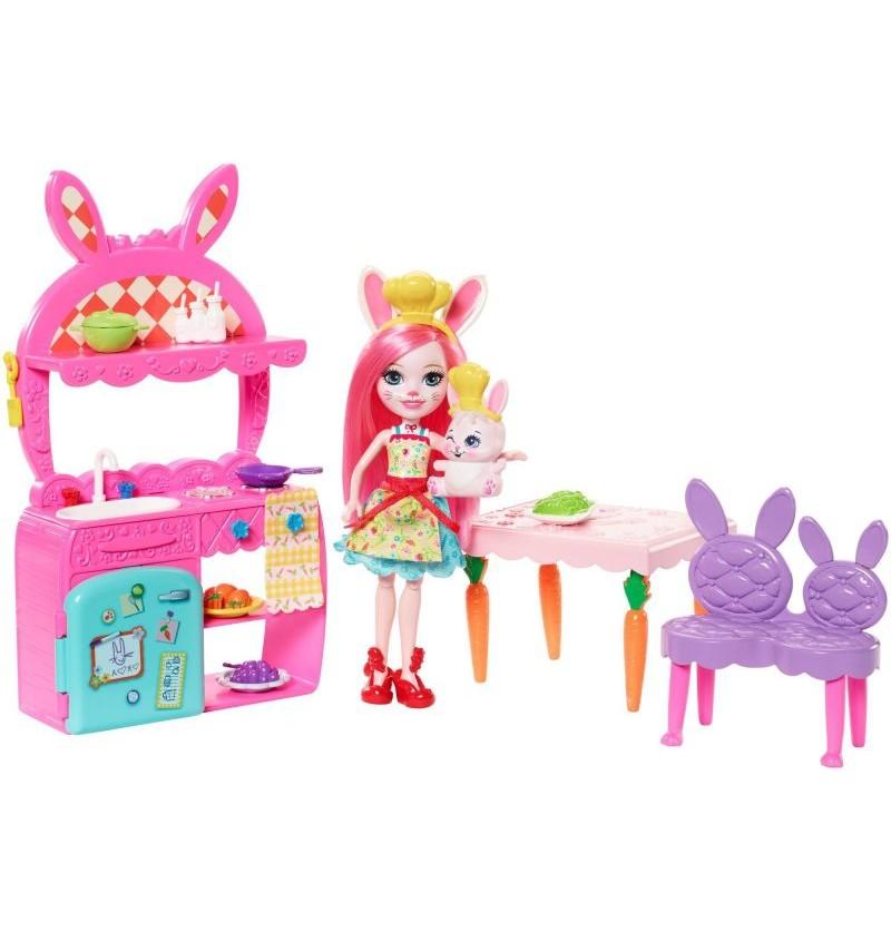 Enchantimals FRH47 Wesoła kuchnia+lalka Bree Bunny i królik Twist