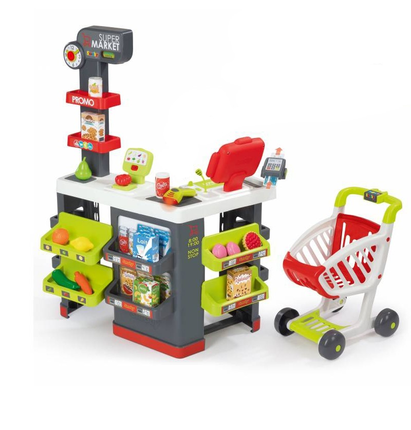 Smoby Czerwony supermarket z wózkiem 350213