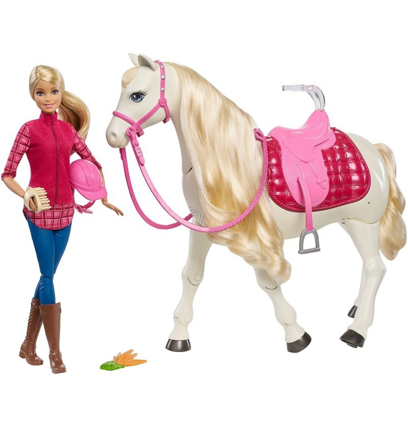 Barbie FRV36 Interaktywny koń + lalka