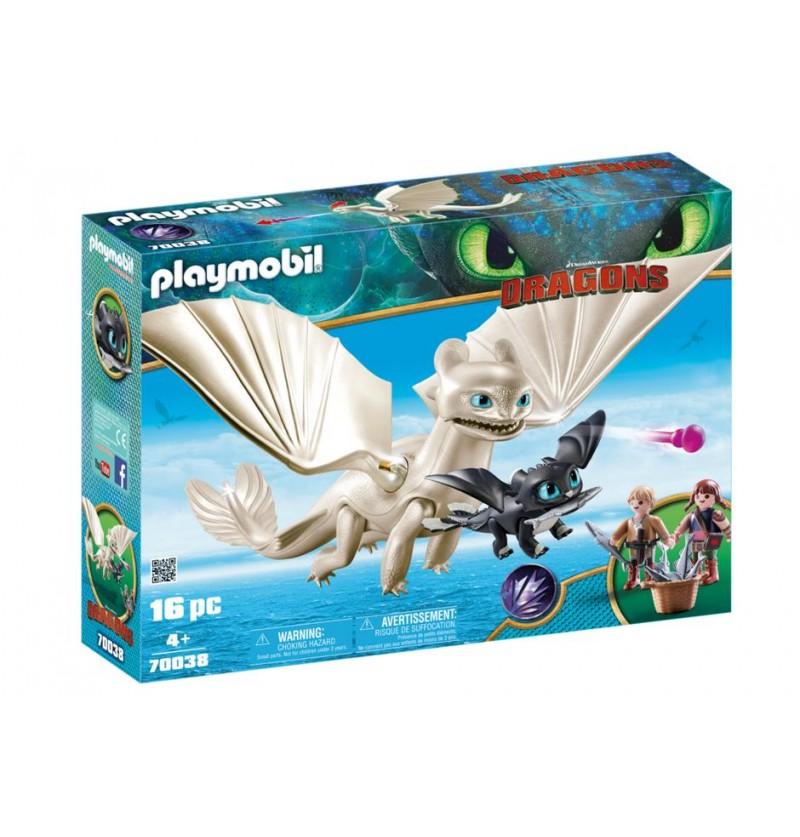 Playmobil 70038 Biała Furia z małym smokiem i dziećmi