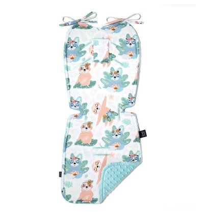 La Millou - Thick Stroller Pad- Yoga Candy Sloths Audrey Mint