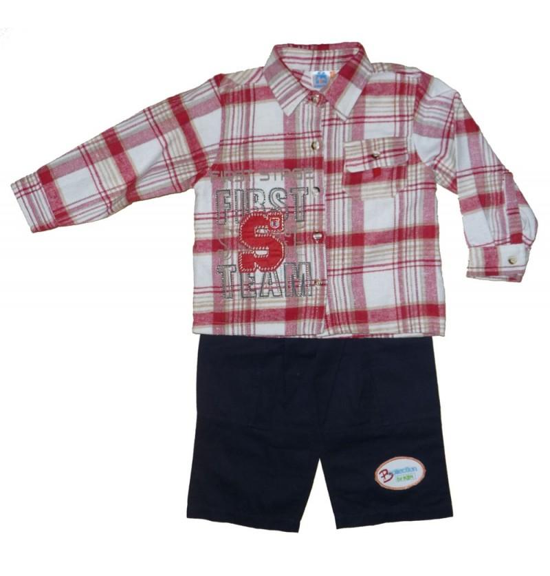 Komplet Flanelowa Koszula Bluzka Spodnie