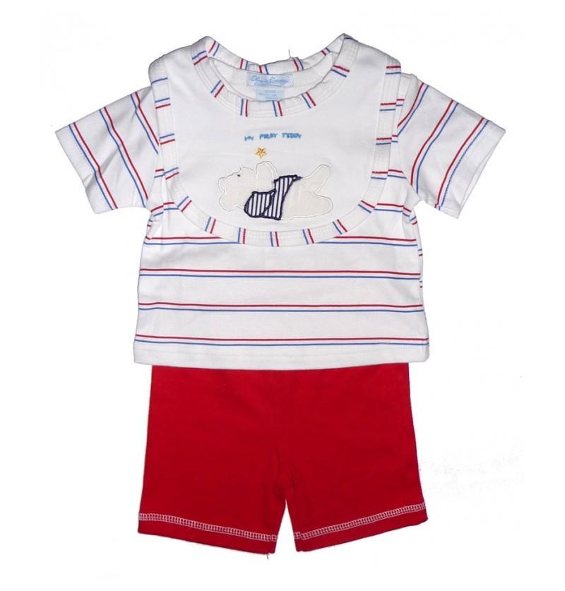 Letni komplet dla chłopca Koszulka Spodenki Śliniak - 2 kolory