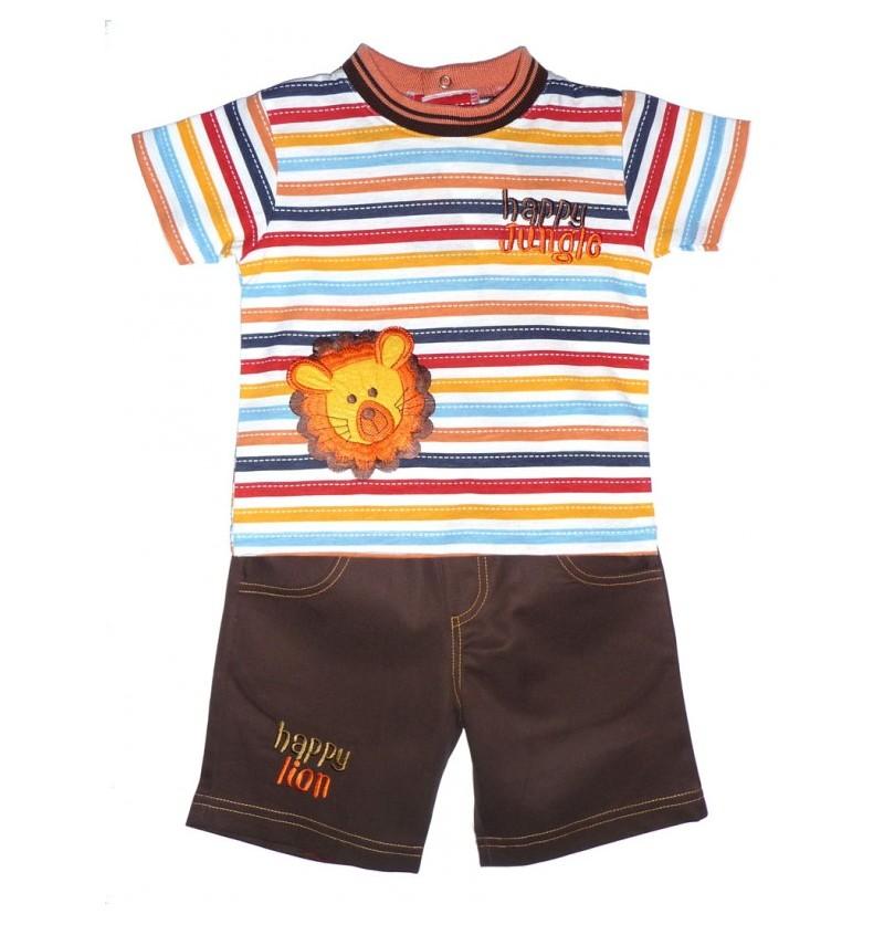 Letni komplet dla chłopca Koszulka Paski + Spodenki
