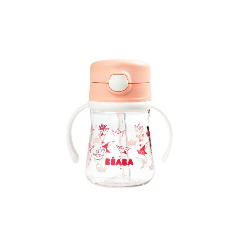 Beaba Butelka-bidon tritanowa ze słomką 240 ml Light pink