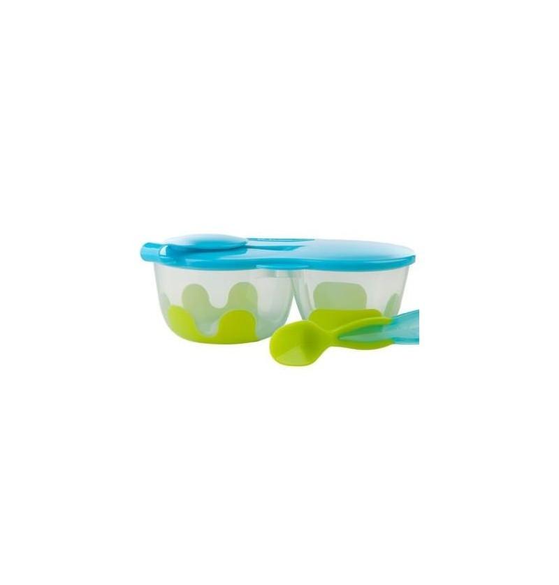 B.box Podwójny pojemnik na jedzenie niebiesko-zielony