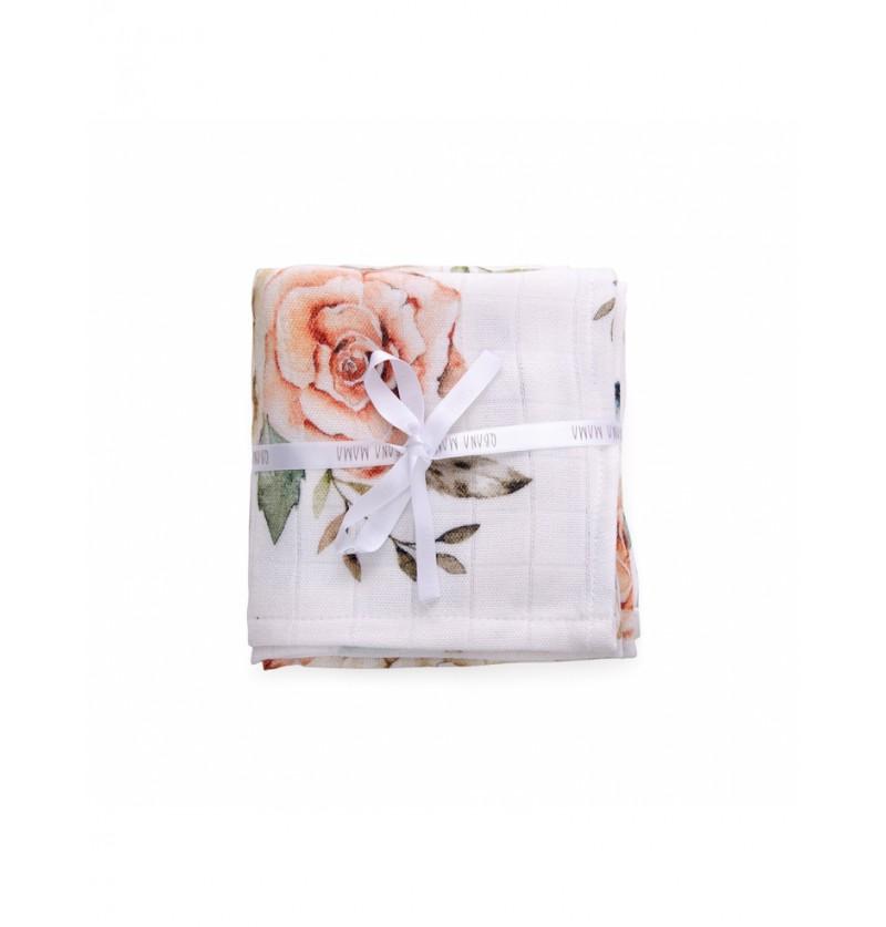 Qbana mama Chusteczki muślinowe Vintage flowers 4pak 30x30cm