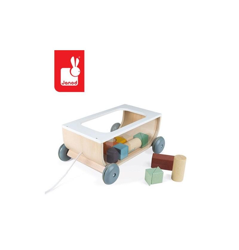 Janod J04407 Drewniany Wózek Do Ciągnięcia Z Klockami