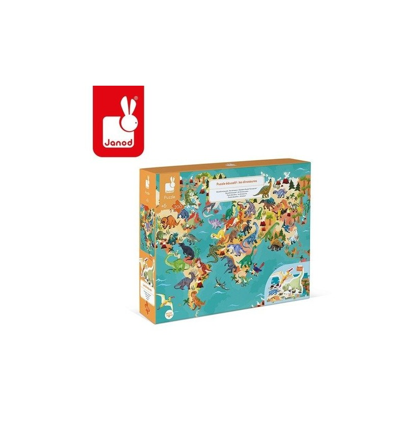 Janod J02679 Puzzle Edukacyjne Z Figurkami 3D Dinozaury