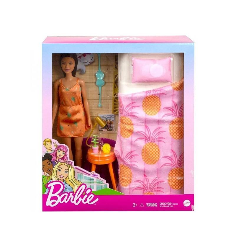 Barbie Sypialnia Łóżko Z Lalką GTD87 Mattel