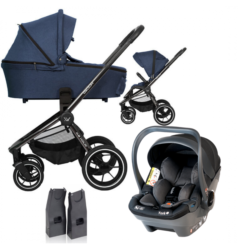 Muuvo Quick 2.0 Black Chrome Wózek Głęboko-Spacerowy 3w1 + Fotelik Babysafe York