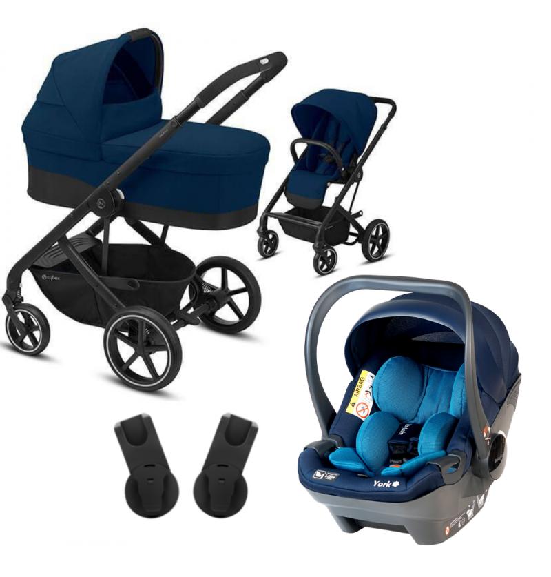 Cybex Balios S Lux Wózek Głęboko-Spacerowy 3w1 Czarna Rama + Fotelik Samochodowy Babysafe York