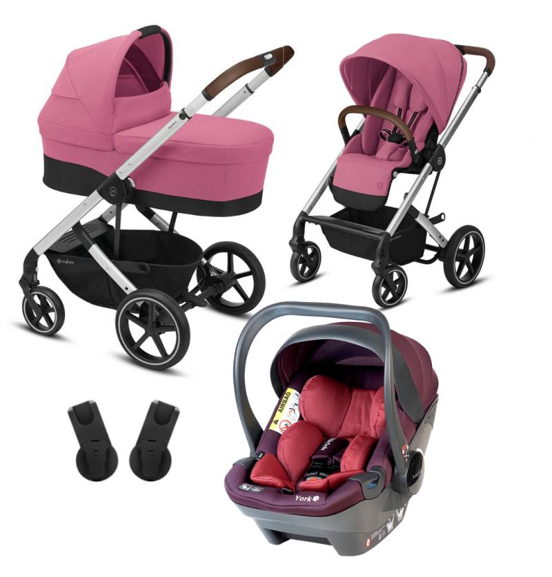 Cybex Balios S Lux Wózek Głęboko-Spacerowy 3w1 Srebrna Rama + Fotelik Samochodowy Babysafe York