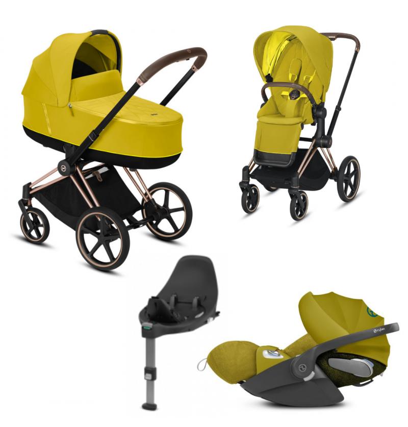 Cybex Priam 2.0 Mustard Yellow Wózek Wielofunkcyjny 4w1 + Fotelik Samochodowy Cloud Z I-Size + Baza Isofix