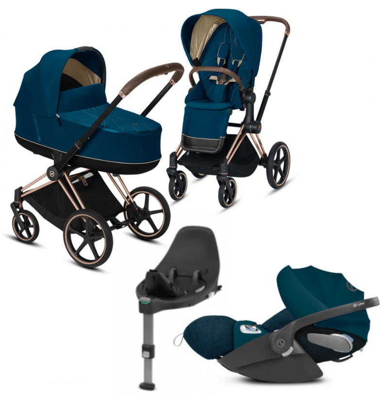 Cybex Priam 2.0 Mountain Blue Wózek Wielofunkcyjny 4w1 + Fotelik Samochodowy Cloud Z I-Size + Baza Isofix