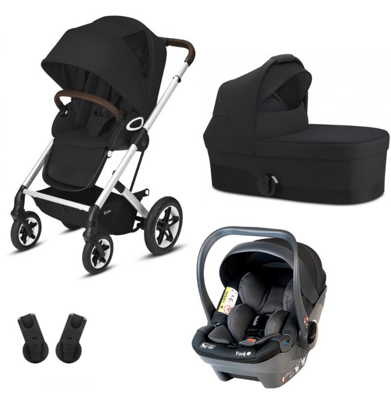 Cybex Talos S Lux 3w1 Wózek Wielofunkcyjny Srebrna Rama + Fotelik Samochodowy Babysafe York