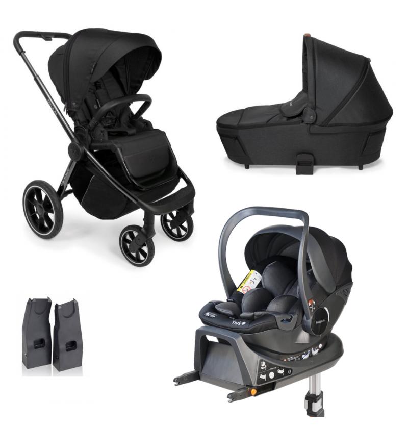 Muuvo Quick 3.0 Wózek Wielofunkcyjny 4w1 + Fotelik Samochodowy Babysafe York + Baza Isofix