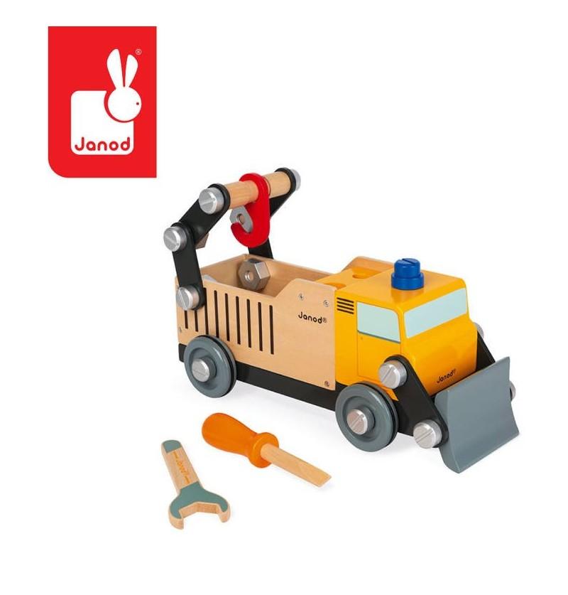 Janod J06470 Drewniana Ciężarówka Budowlana Do Składania