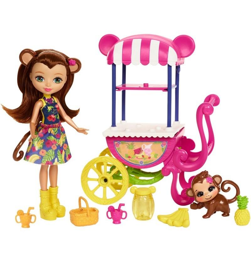 EnchanTimals Lalka Merit Monkey z wózkiem FCG93